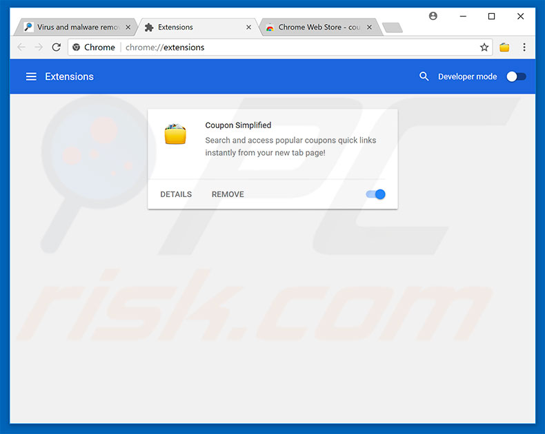 Removing PC Accelerator ads from Google Chrome step 2