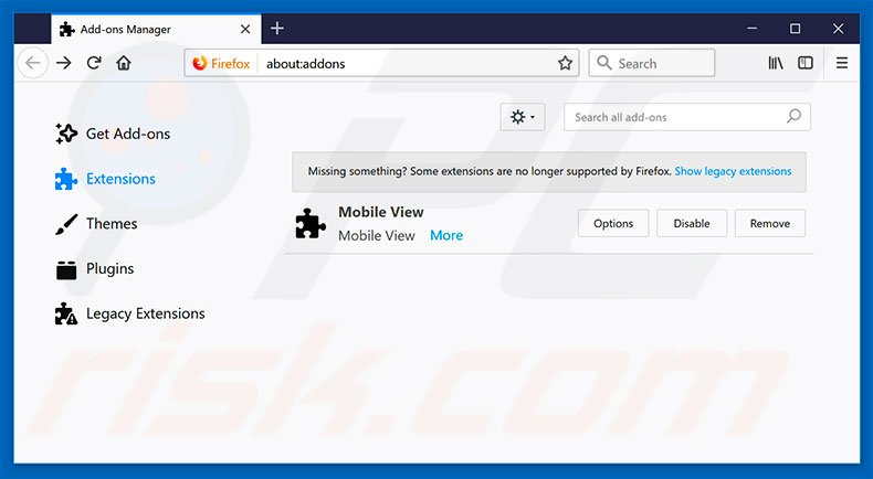 Removing PC Accelerator ads from Mozilla Firefox step 2