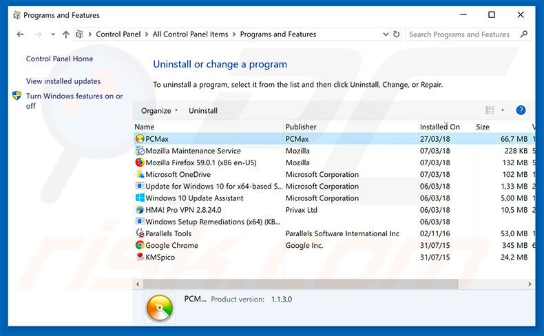 PCMax adware uninstall via Control Panel