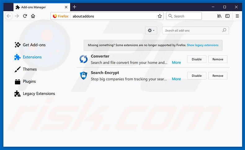 Removing search.searchfefc3.com related Mozilla Firefox extensions