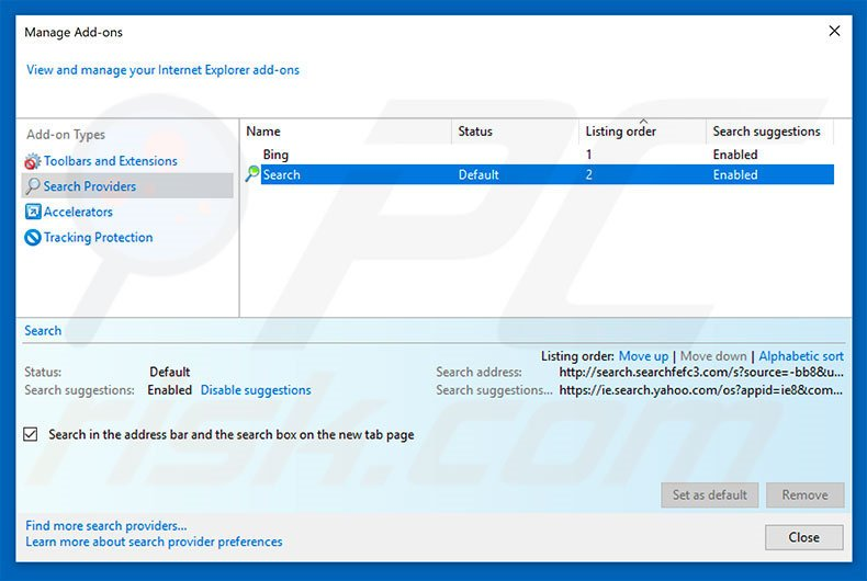 Removing search.searchfefc3.com from Internet Explorer default search engine