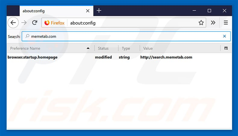 Removing search.memetab.com from Mozilla Firefox default search engine