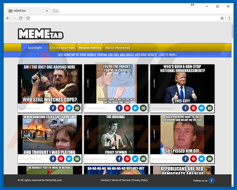 Website used to promote MemeTab browser hijacker