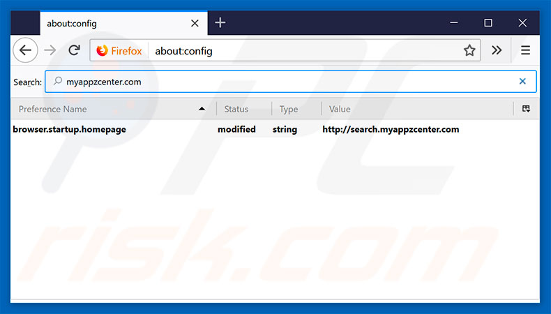 Removing search.myappzcenter.com from Mozilla Firefox default search engine
