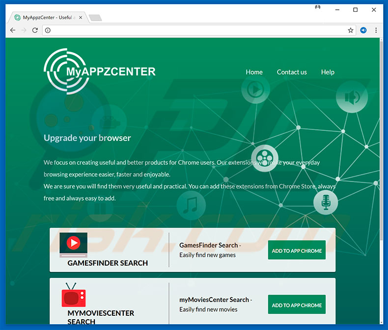 GamesFinder Search, myMoviesCenter Search, and MusicFinder Search browser hijackers promoting website