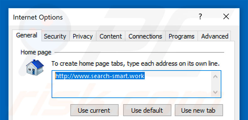 Removing search-smart.work from Internet Explorer homepage