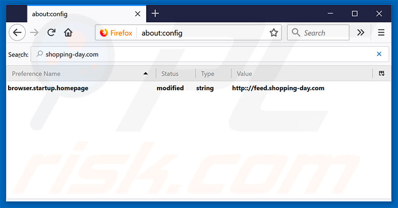 Removing feed.shopping-day.com from Mozilla Firefox default search engine
