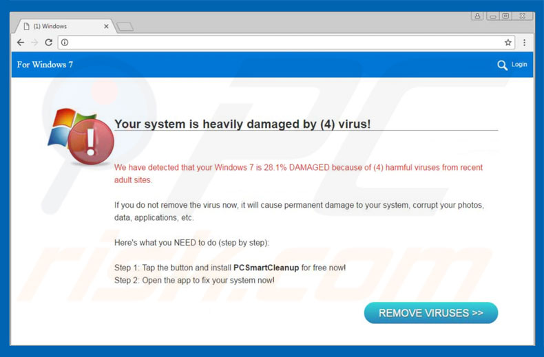 Your System Is Heavily Damaged By (4) Virus scam