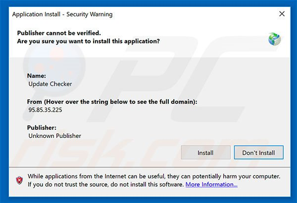 Update Checker adware installer setup