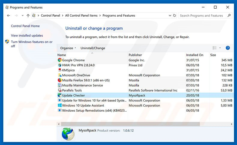 Update Checker adware uninstall via Control Panel