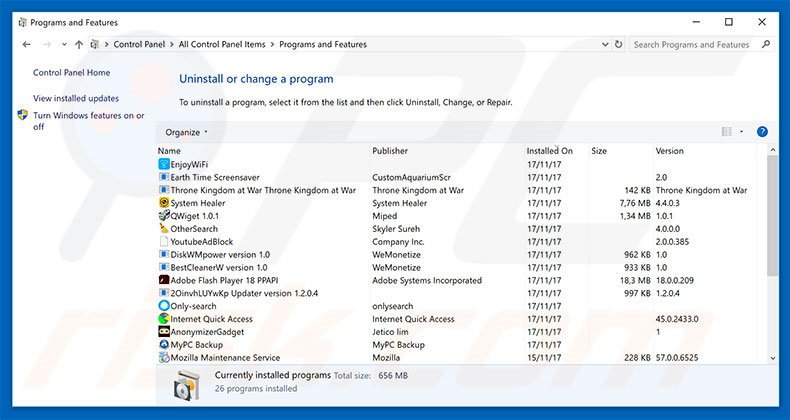 Windows Is Resetting Itself adware uninstall via Control Panel