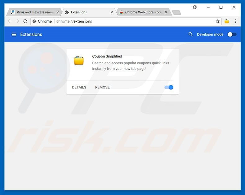 Removing Chrominio ads from Google Chrome step 2