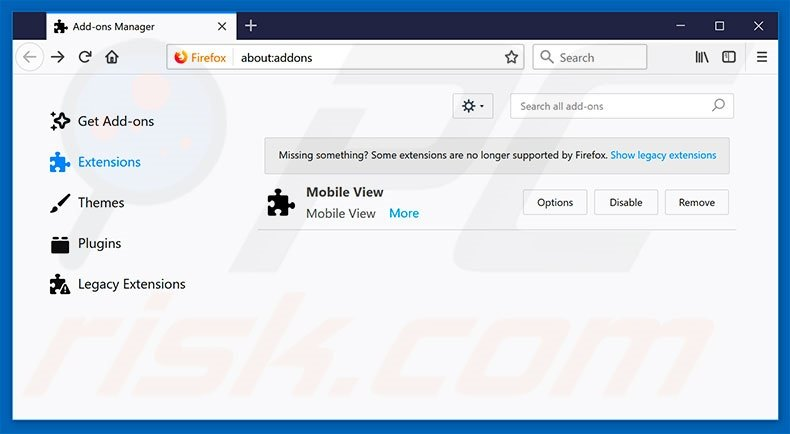 Removing Chrominio ads from Mozilla Firefox step 2