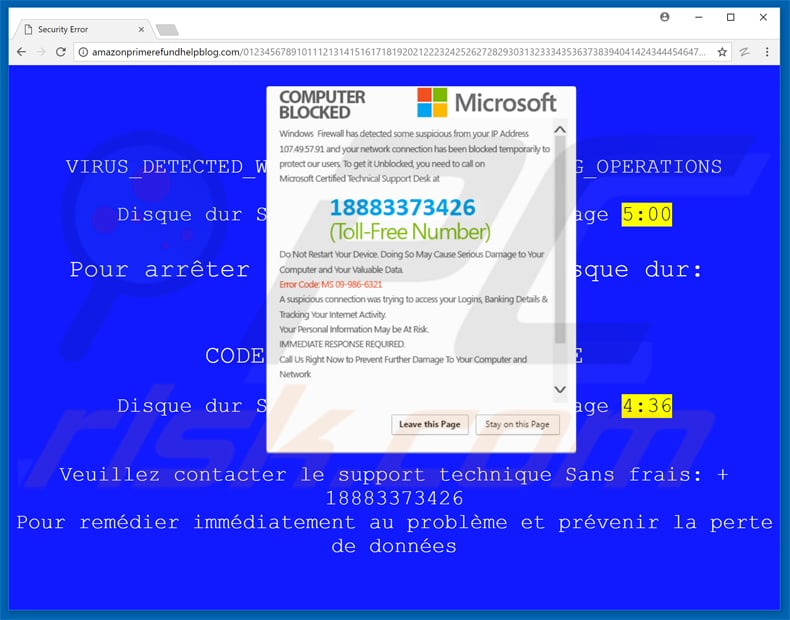 computer blocked MICROSOFT pop-up scam variant 2 BSOD