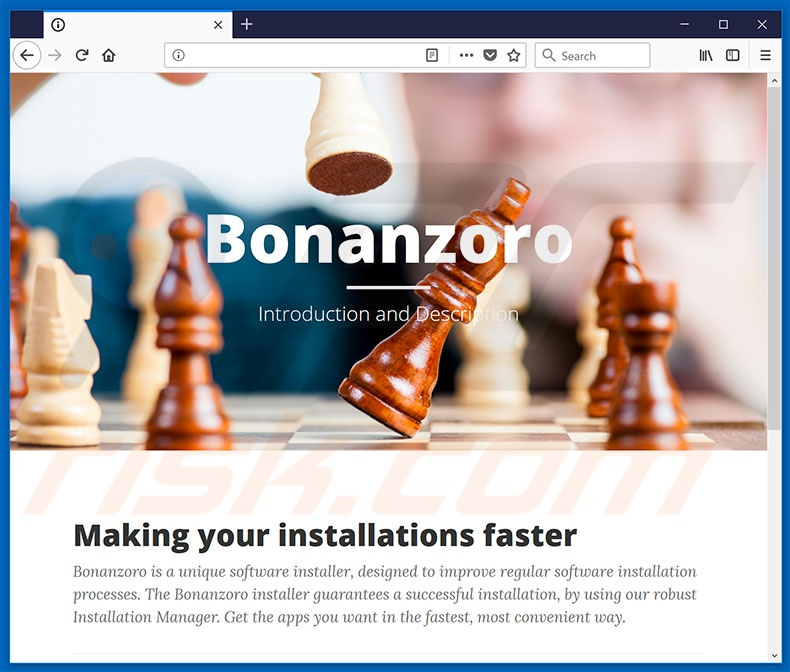 Website used to promote Bonanzoro browser hijacker