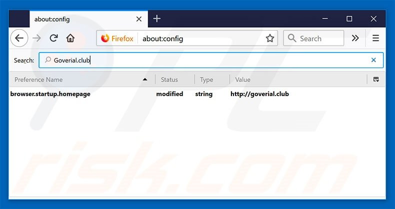 Removing goverial.club from Mozilla Firefox default search engine