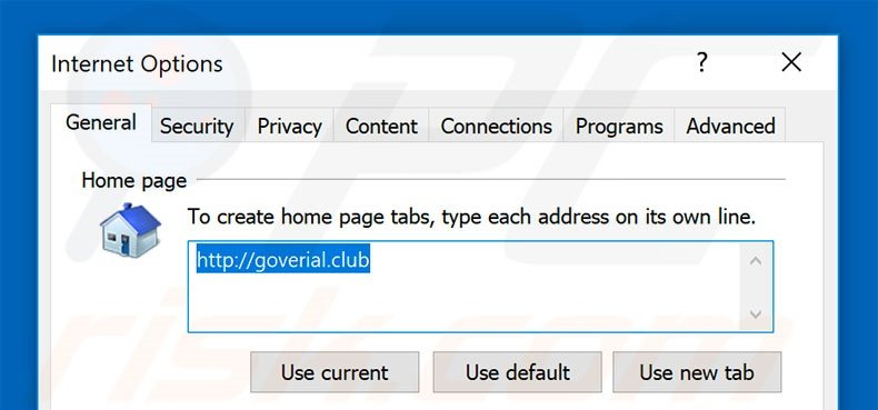 Removing goverial.club from Internet Explorer homepage