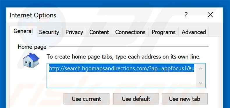 Removing search.hgomapsandirections.com from Internet Explorer homepage