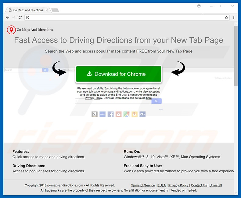 Website used to promote Go Maps and Directions browser hijacker