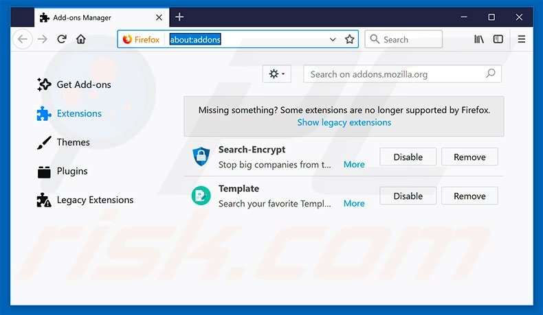 Removing search.hmytemplates.co related Mozilla Firefox extensions