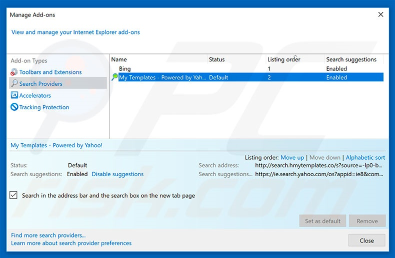 Removing search.hmytemplates.co from Internet Explorer default search engine