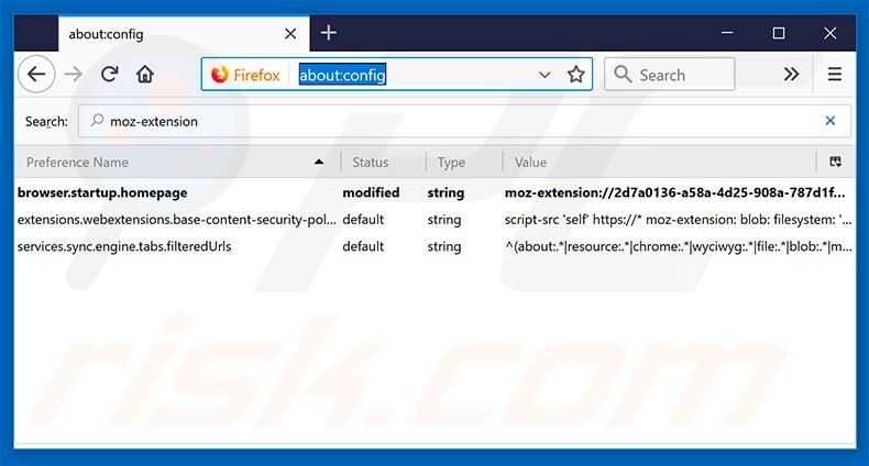 Removing search.hwatchallsports.co from Mozilla Firefox default search engine