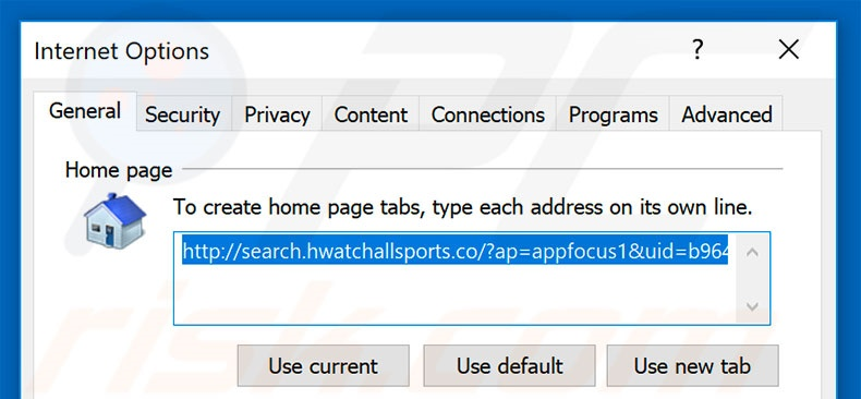 Removing search.hwatchallsports.co from Internet Explorer homepage