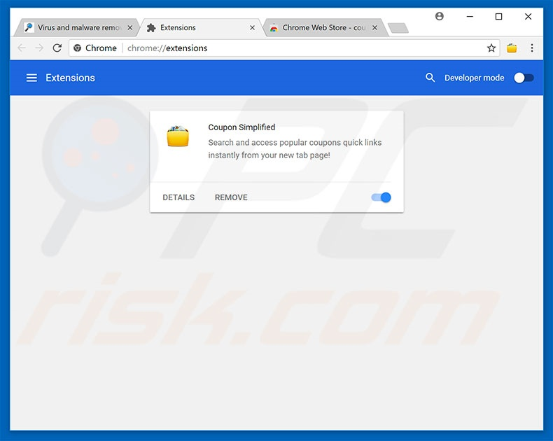 Removing rogue extensions from Google Chrome step 2