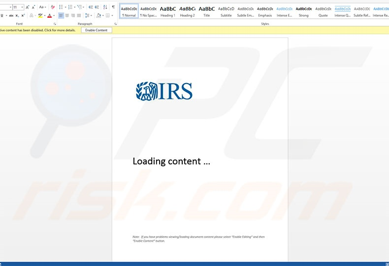 Malicious attachment distributed through Important Documents IRS spam campaign