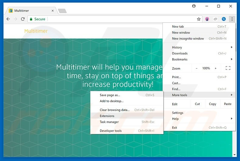 Removing Multitimer  ads from Google Chrome step 1