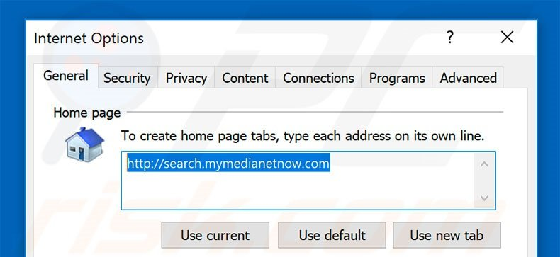 Removing search.mymedianetnow.com from Internet Explorer homepage