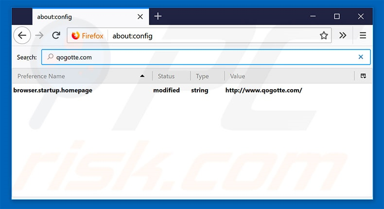Removing qogotte.com from Mozilla Firefox default search engine