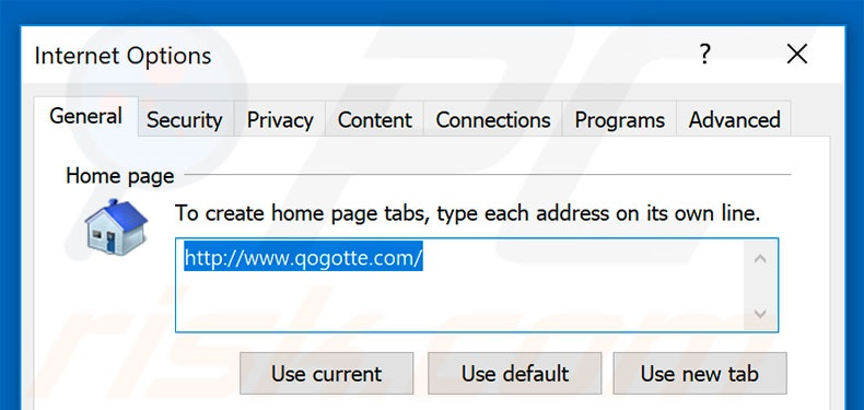Removing qogotte.com from Internet Explorer homepage