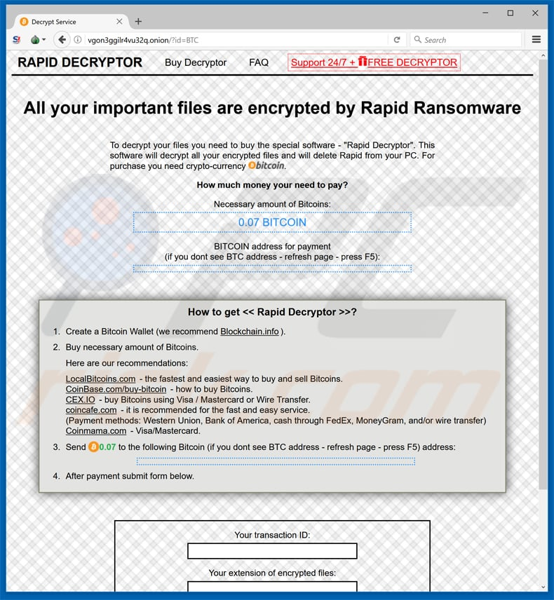 rapid ransomware v3 tor website