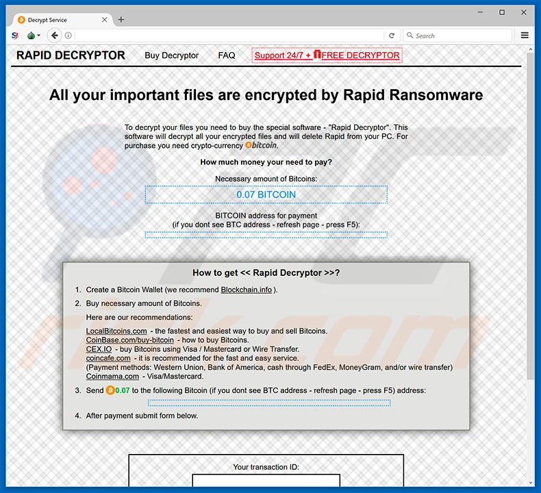 RAPID RANSOMWARE V3 website (sample 1)