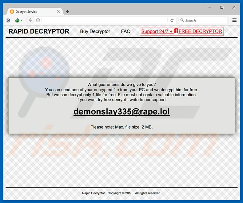 RAPID RANSOMWARE V3 website (sample 3)