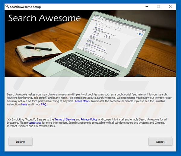 SearchAwesome adware installation setup