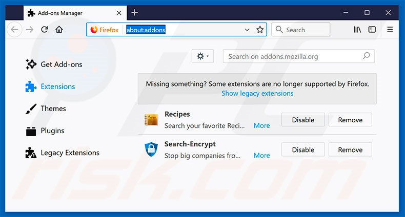 Removing search.searchrs.com related Mozilla Firefox extensions