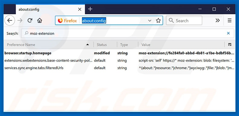 Removing search.searchrs.com from Mozilla Firefox default search engine