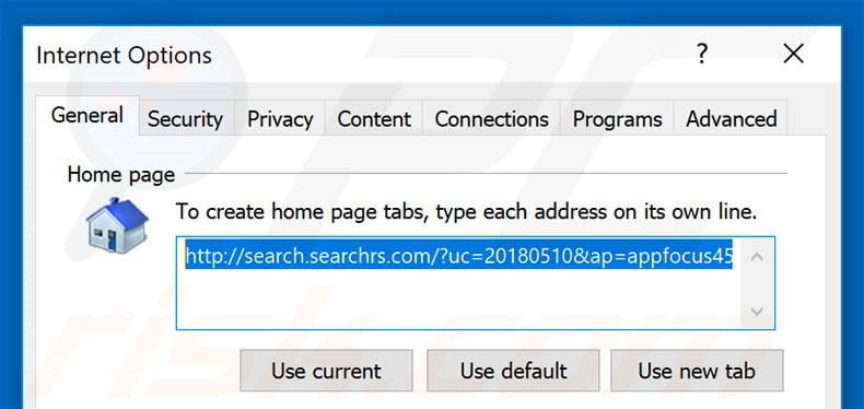 Removing search.searchrs.com from Internet Explorer homepage