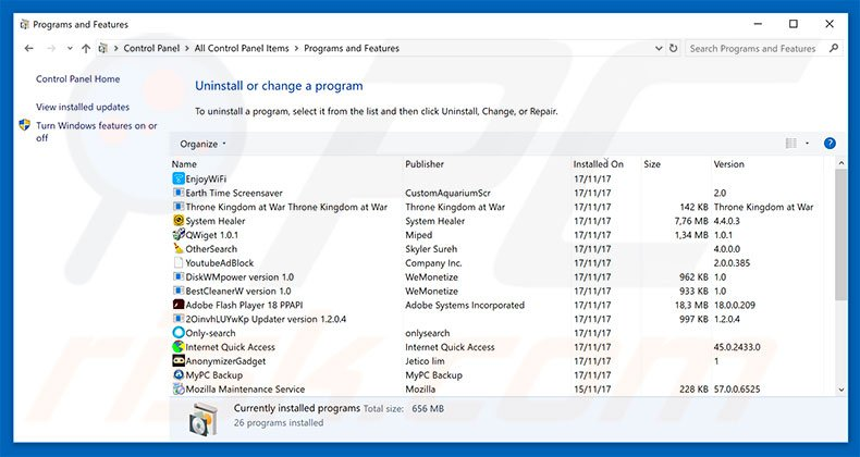 Windows Malware Detected adware uninstall via Control Panel