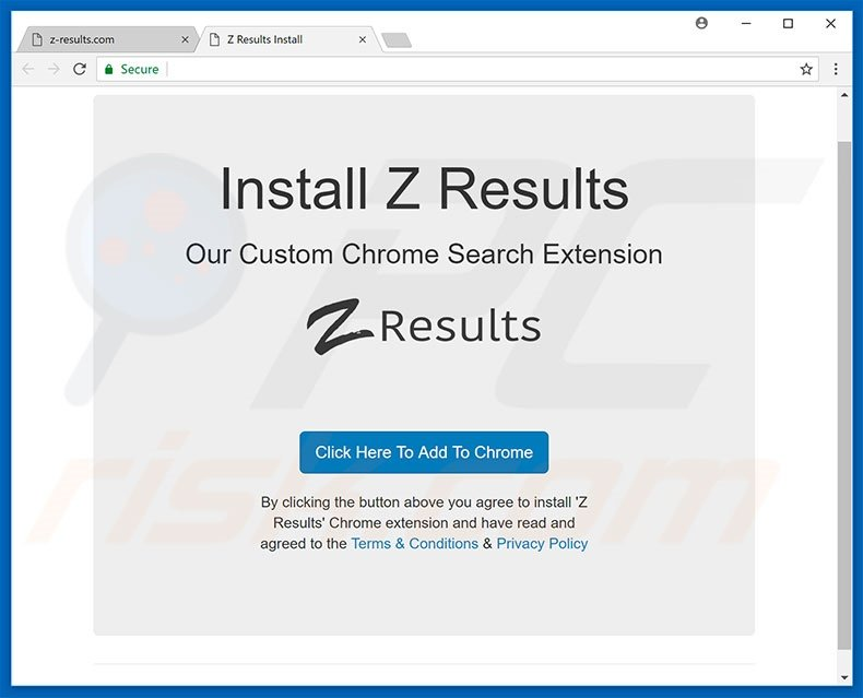 Website used to promote Z Results browser hijacker