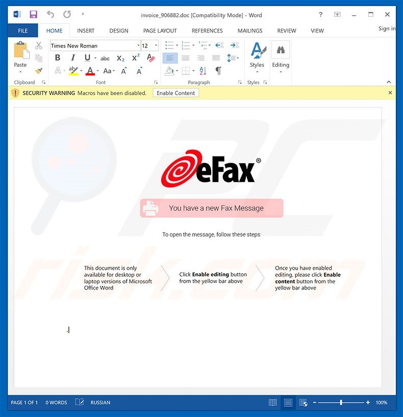 Malicious attachment distributed through eFax spam campaign