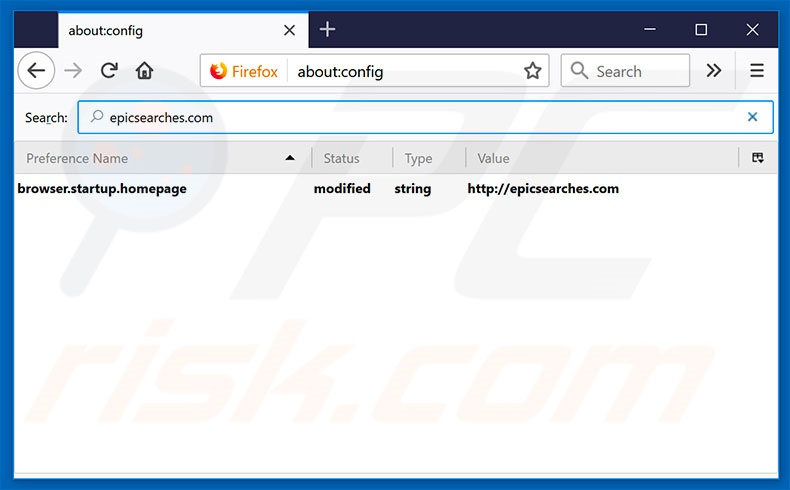 Removing epicsearches.com from Mozilla Firefox default search engine