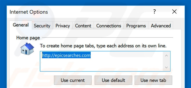Removing epicsearches.com from Internet Explorer homepage