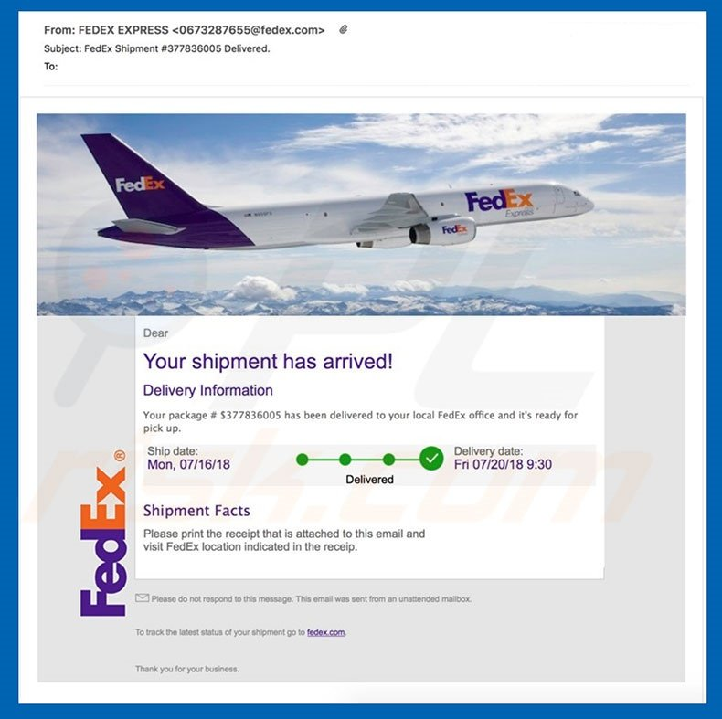 How to remove FedEx Shipment Email Virus - virus removal