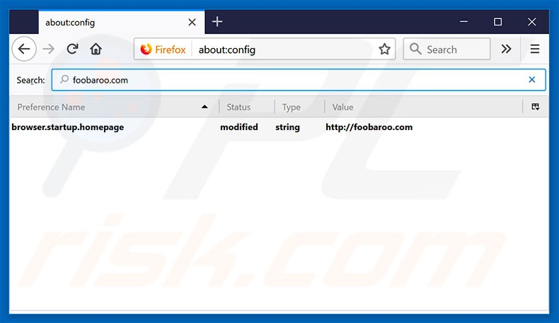 Removing foobaroo.com from Mozilla Firefox default search engine