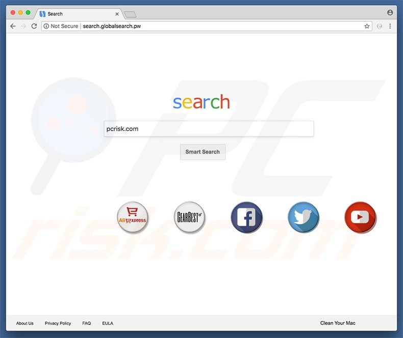 search.globalsearch.pw browser hijacker on a Mac computer