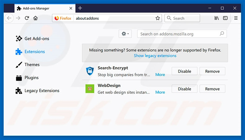 Removing search.hdesignyoursite.com related Mozilla Firefox extensions