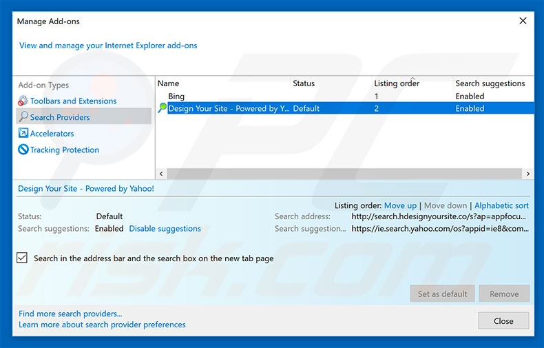 Removing search.hdesignyoursite.com from Internet Explorer default search engine